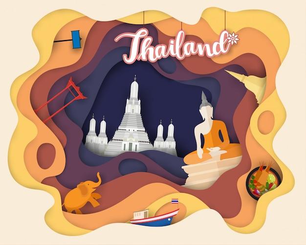 Design de corte de papel de viagens turísticas na tailândia