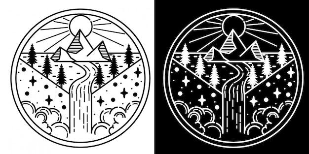 Design de crachá ao ar livre monoline tatto