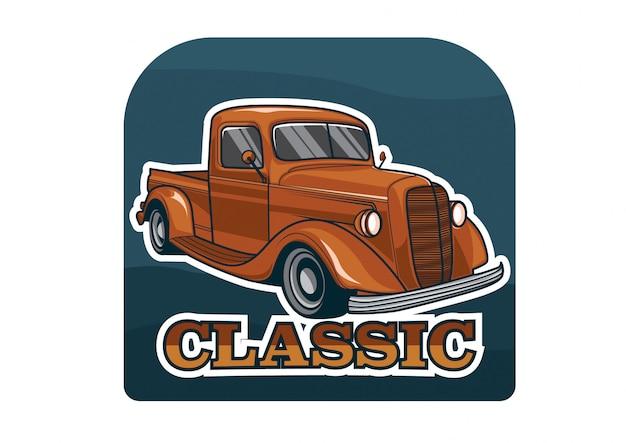 Design de crachá com temas clássicos de carros