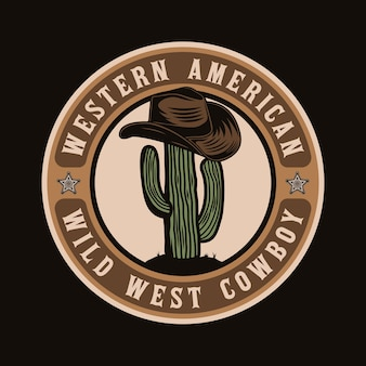 Design de crachá de cacto e chapéu de cowboy