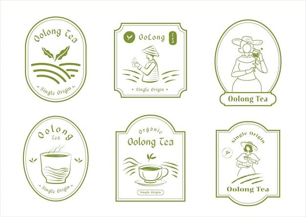 Design de crachá de chá oolong