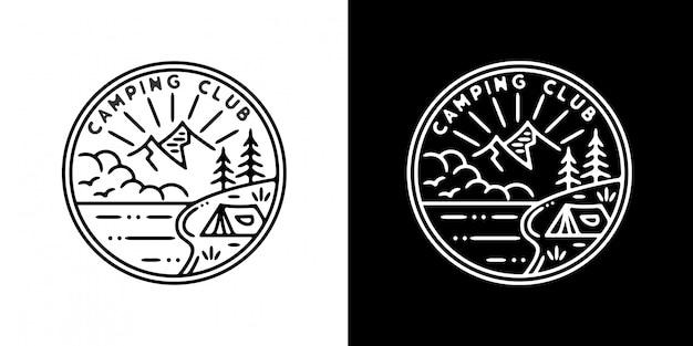 Design de crachá de clube de acampamento monoline