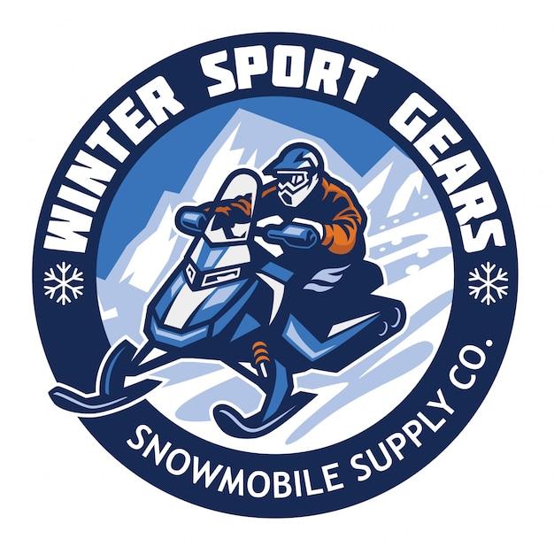 Design de crachá de logotipo de loja de moto de neve