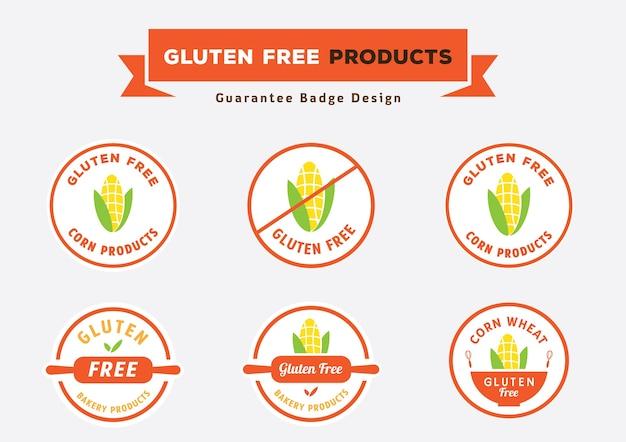 Design de crachá de produtos livre de glúten com vetor de milho