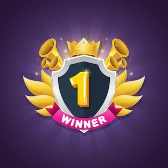Design de crachá de vencedor do jogo com coroa brilhante e prêmio de estrela