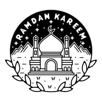 Design de crachá monoline de montanha ramadan kareem