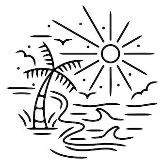 Design de crachá monoline de praia
