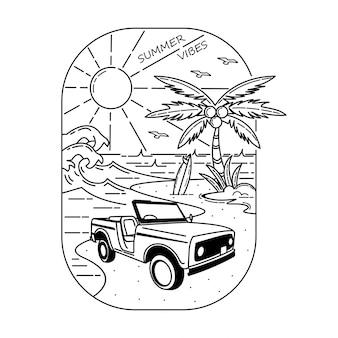 Design de crachá monoline de vibrações de verão