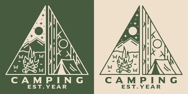 Design de crachá vintage camp monoline ao ar livre