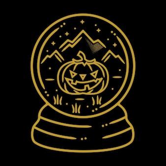 Design de crachá vintage monoline de halloween para exterior