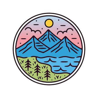 Design de crachá vintage monoline de montanha ao ar livre