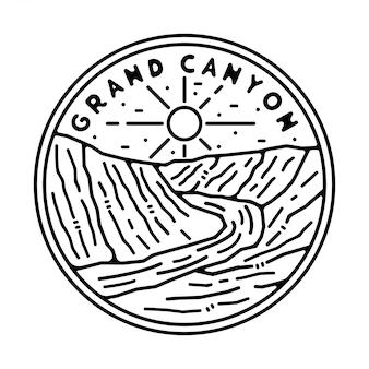Design de crachá vintage monoline do grand canyon
