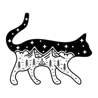 Design de crachá vintage monoline gato
