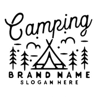 Design de crachá vintage monoline para acampamento ao ar livre