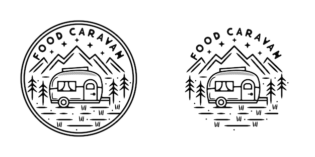 Design de crachá vintage para caravana alimentar monoline