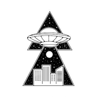 Design de crachá vintage ufo monoline