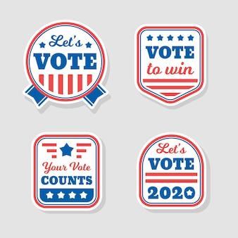 Design de crachás e adesivos de votação