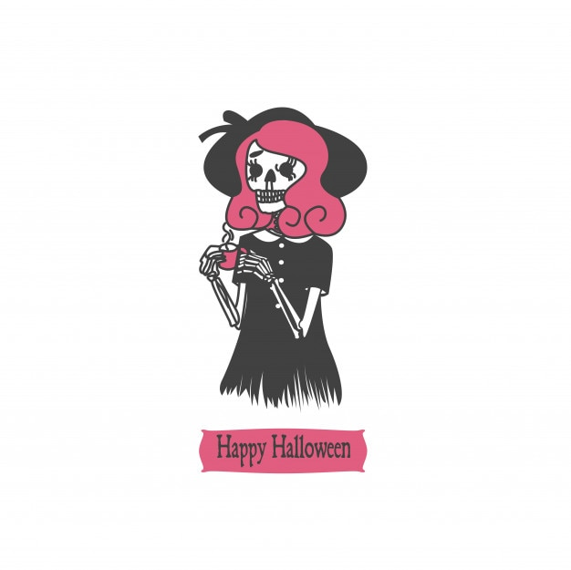 Design de crânio de personagem de halloween vintage
