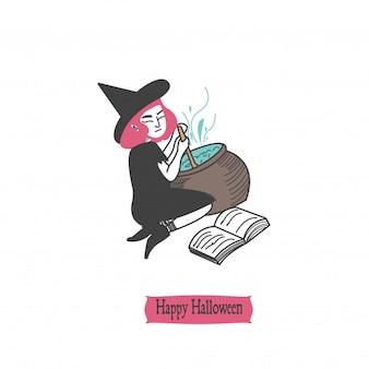 Design de crânio de personagem de halloween vintage