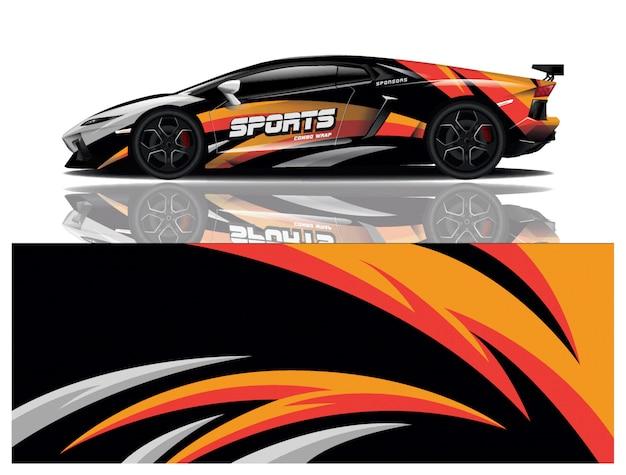 Design de decalque de embrulho de carro esportivo