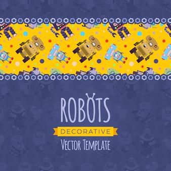 Design de decoração feito de robôs isométricos
