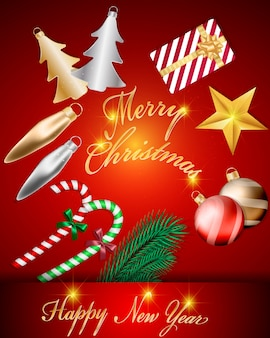 Design de decorações de bolas de natal brilhante vista superior