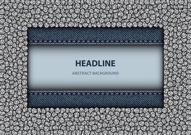 Design de denim retângulo azul com moldura de lantejoulas prateadas e listras de costura denim.