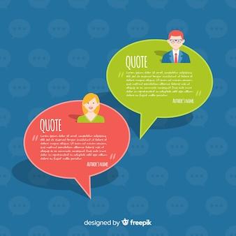 Design de depoimento com bolhas do discurso