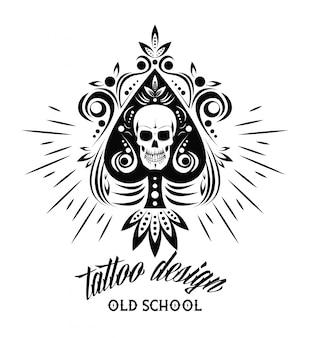 Design de desenho de caveira tatuagem velha