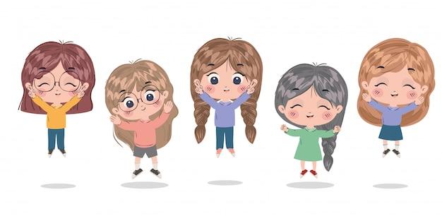Design de desenhos animados de meninas, crianças amizade infância pequenas pessoas