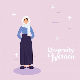 Design de desenhos animados de mulher árabe, tema de diversidade cultural e amizade
