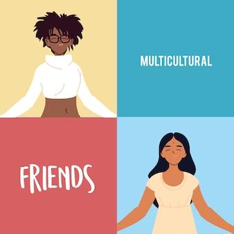 Design de desenhos animados de mulheres negras e indianas