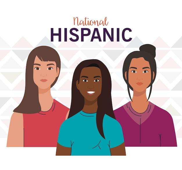 Design de desenhos animados femininos latinos, mês da herança hispânica nacional e tema cultural