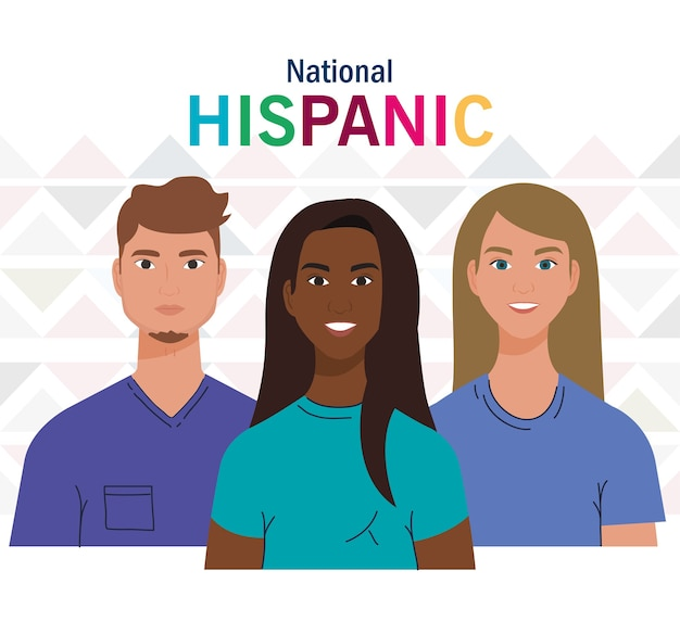 Design de desenhos animados latinos de mulheres e homens, mês da herança nacional hispânica e tema cultural