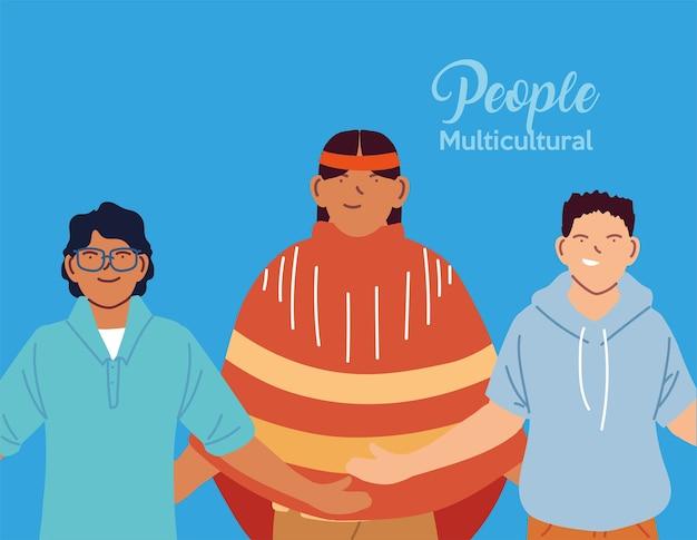 Design de desenhos animados latinos eua indianos e homens asiáticos