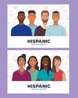 Design de desenhos animados latinos para mulheres e homens, mês da herança hispânica nacional e tema cultural