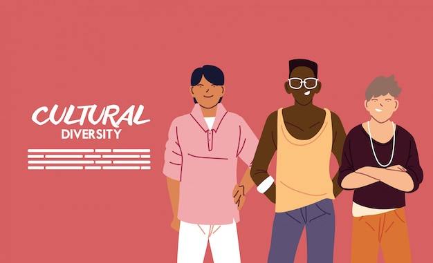 Design de desenhos animados para homens, tema de diversidade cultural e de amizade