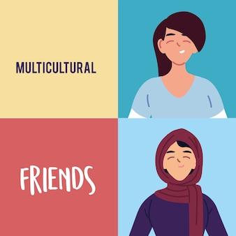 Design de desenhos animados para mulheres latinas e muçulmanas