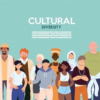 Design de desenhos para mulheres e homens, tema da diversidade cultural e de amizade