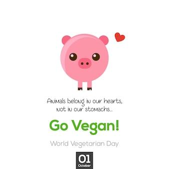 Design de design do dia vegetariano e pequena ilustração de porco