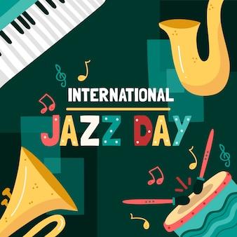 Design de dia de jazz internacional desenhado à mão