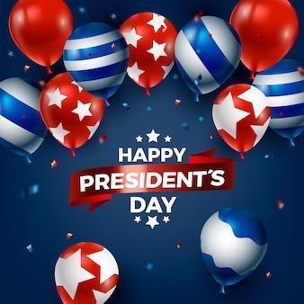 Design de dia de presidentes com balões realistas