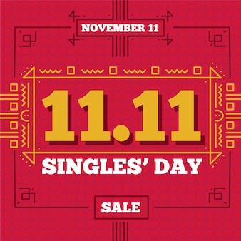 Design de dia de solteiros em vermelho e dourado