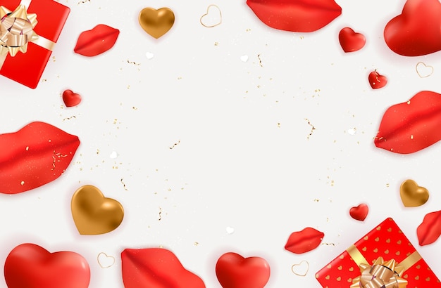 Design de dia dos namorados com lábios e corações realistas.