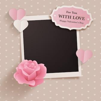 Design de dia dos namorados estilo scrapbook com foto instantânea