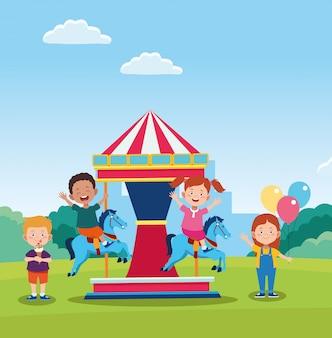 Design de dia feliz crianças com carrossel de cavalo com crianças felizes dos desenhos animados