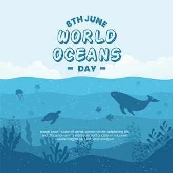 Design de dia mundial dos oceanos com tartaruga