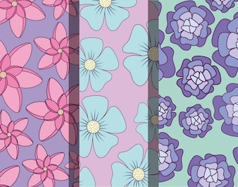 Design de diferentes e belos padrões de flores tropicais