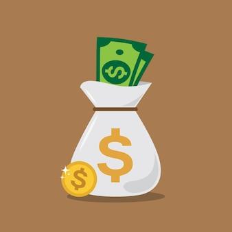 Design de dinheiro bolsa branco
