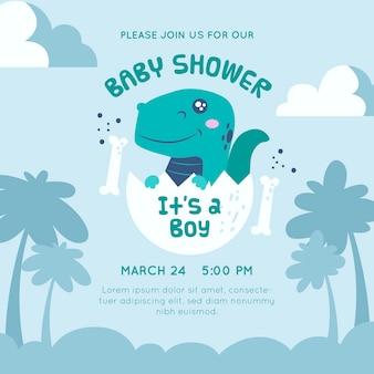 Design de dinossauro de convite de chuveiro de bebê